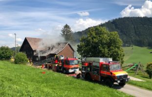Scheune in Hundwil in Brand geraten
