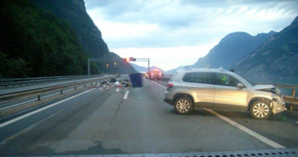 Unfall auf der Autobahn A2 bei Seedorf