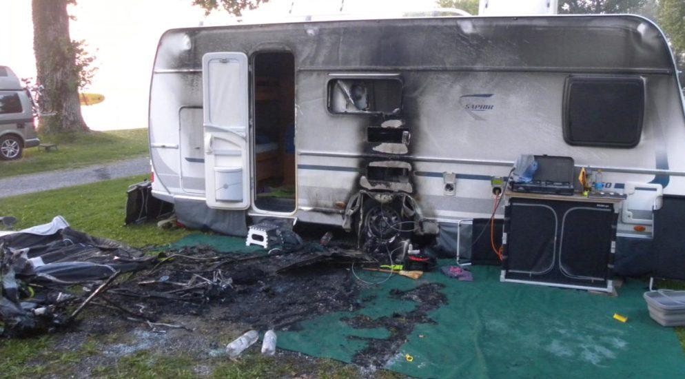 Arbon TG: Wohnwagen in Brand geraten