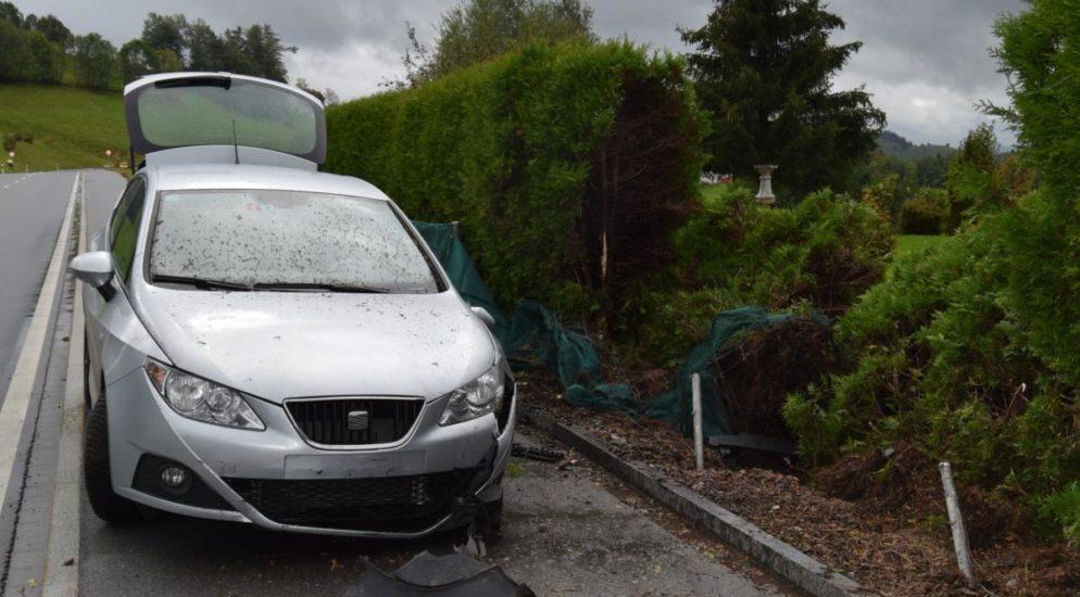 Wald - Bei Autounfall mit Thujahecke kollidiert