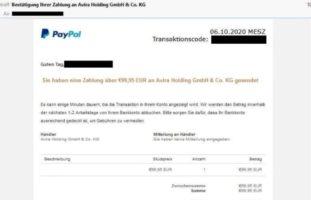 Zürich ZH - Betrüger verschicken Fake-Mails von PayPal