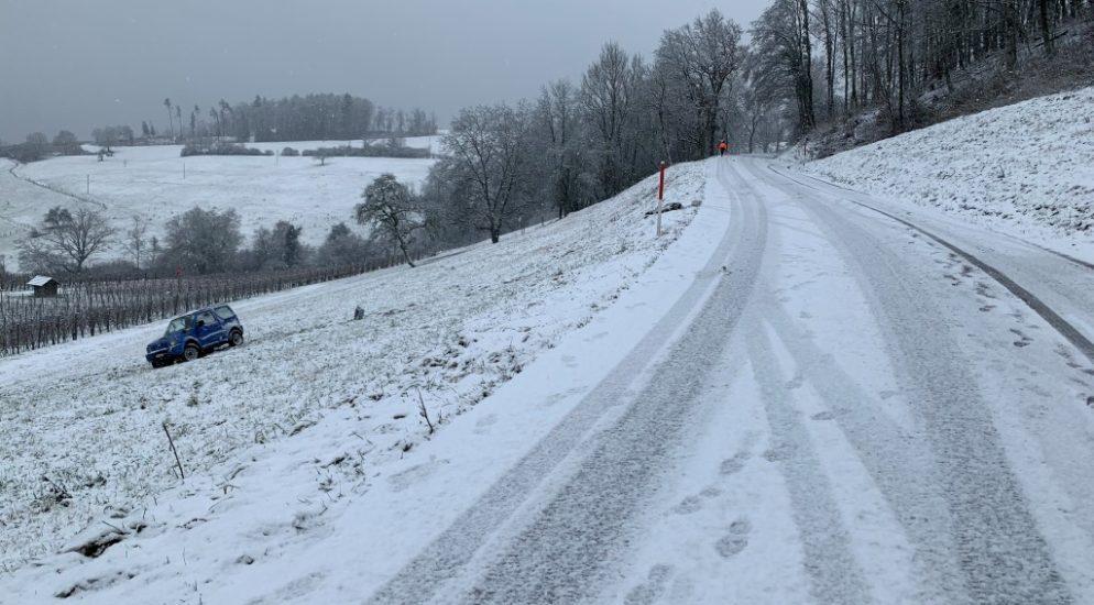 Bei Alleinunfall in Hallau steiles Wiesenboard hinuntergefahren