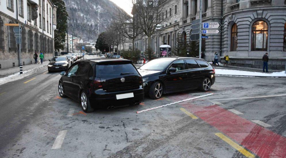 Unfall in Chur GR zwischen zwei Autos