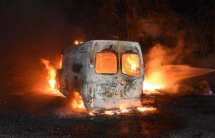 Lieferwagen in Wuppenau in Brand geraten