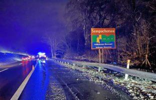 Eich LU - Massiver Schaden nach Selbstunfall auf der A2