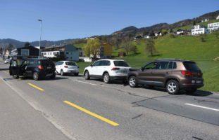 Auffahrunfall mit vier Beteiligten in Marbach SG