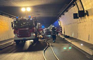 Autobahn A2, Belchen BL: Lastwagen gerät im Belchentunnel in Brand