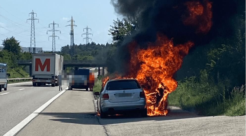Derendingen - Strassensperrung nach Brand auf der A1