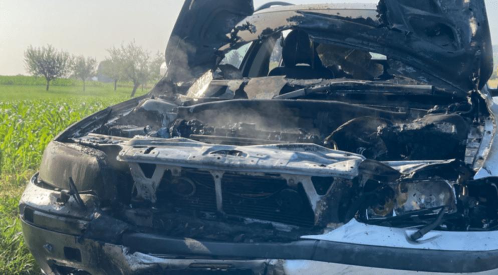 Oberkirch LU - Fahrzeuge fangen nach Frontalkollision Feuer