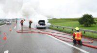 A1 bei Gossau SG: Auto in Flammen